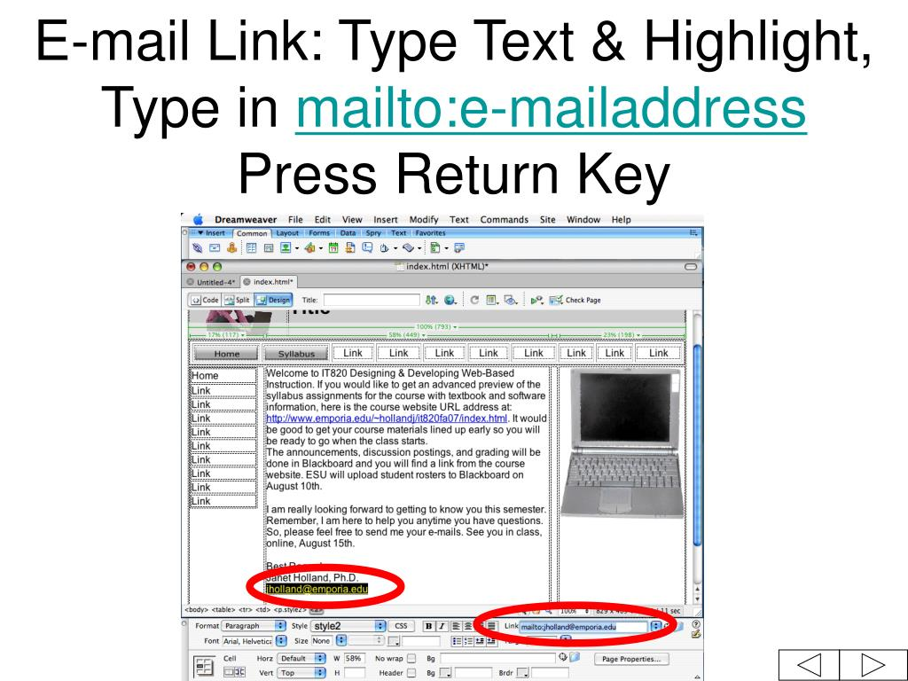 E-mail Link: Type Text & Highlight, Type in