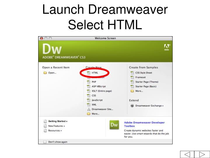 Launch dreamweaver select html