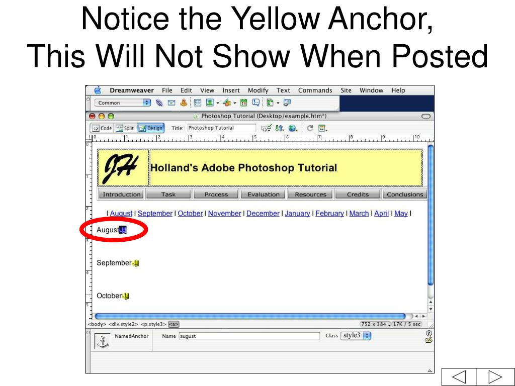 Notice the Yellow Anchor,