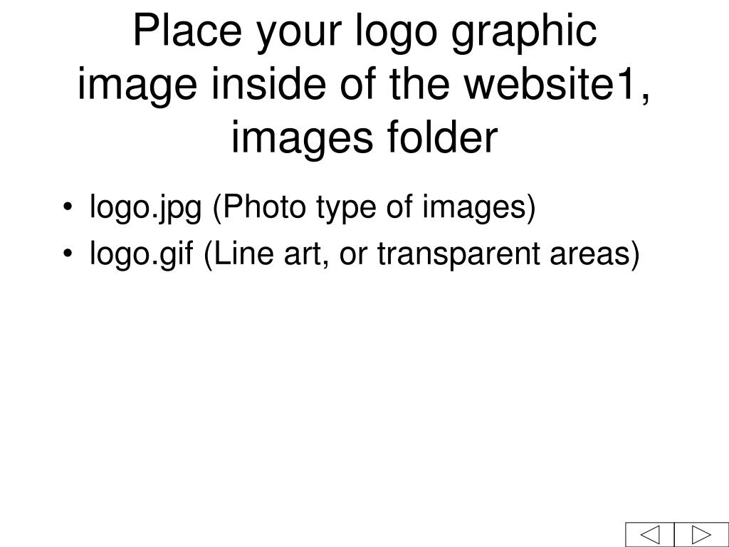 Place your logo graphic  image inside of the website1, images folder