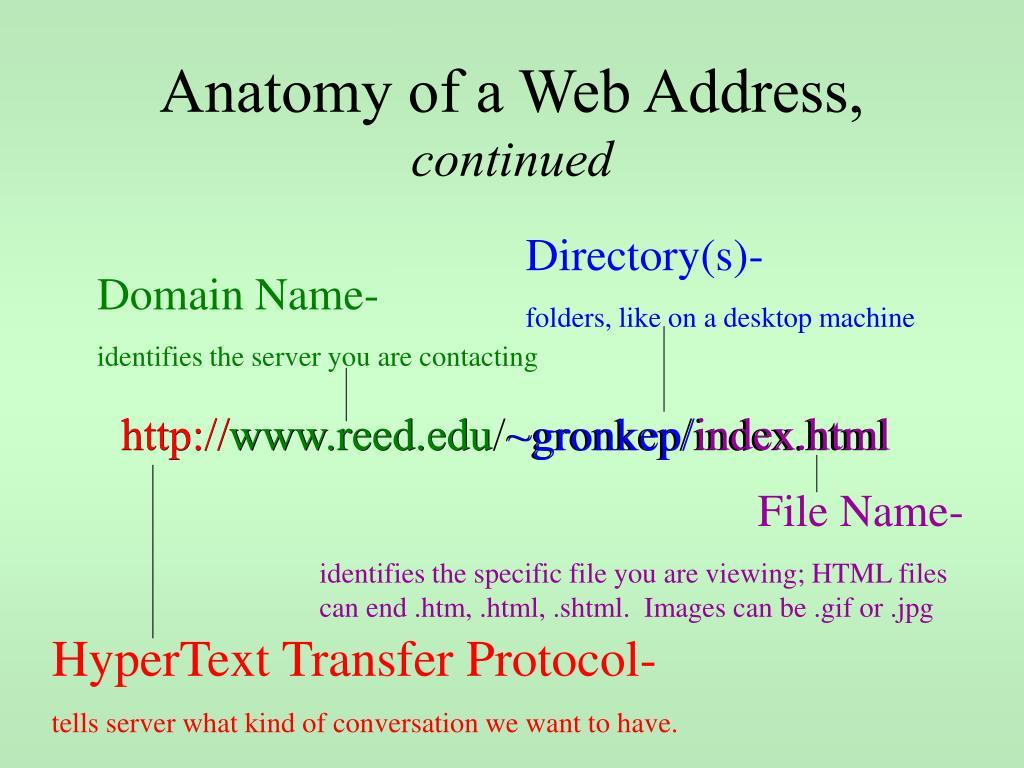Anatomy of a Web Address,