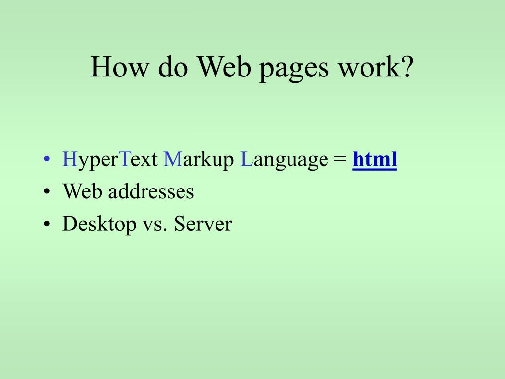 How do Web pages work?