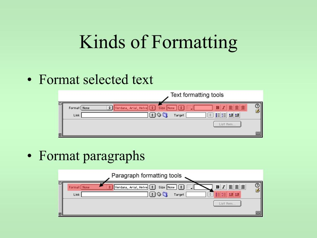 Kinds of Formatting