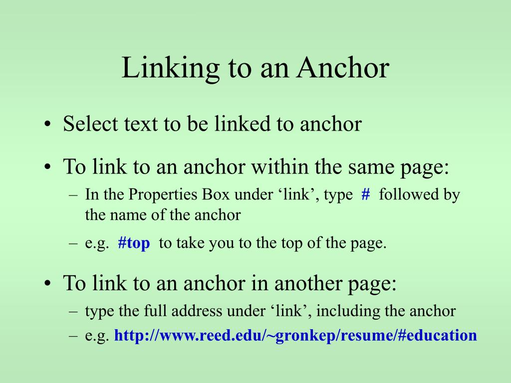 Linking to an Anchor