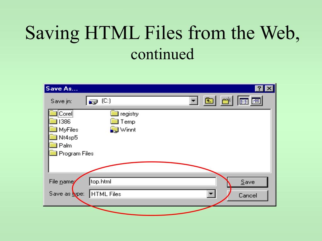 Saving HTML Files from the Web,