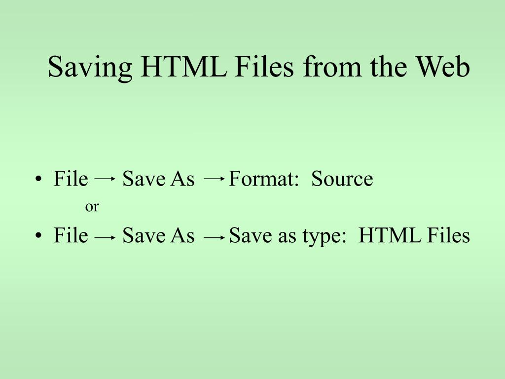 Saving HTML Files from the Web