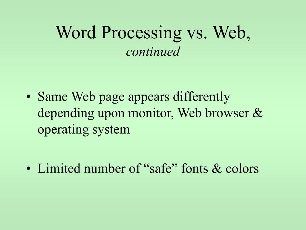 Word Processing vs. Web,
