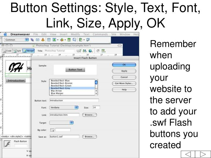 Button Settings: Style, Text, Font, Link, Size, Apply, OK
