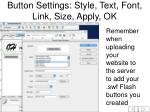 button settings style text font link size apply ok