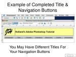 example of completed title navigation buttons