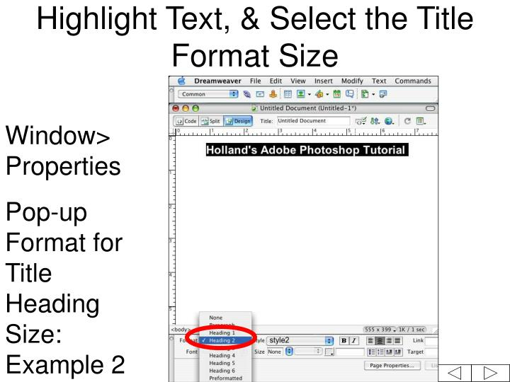 Highlight Text, & Select the Title