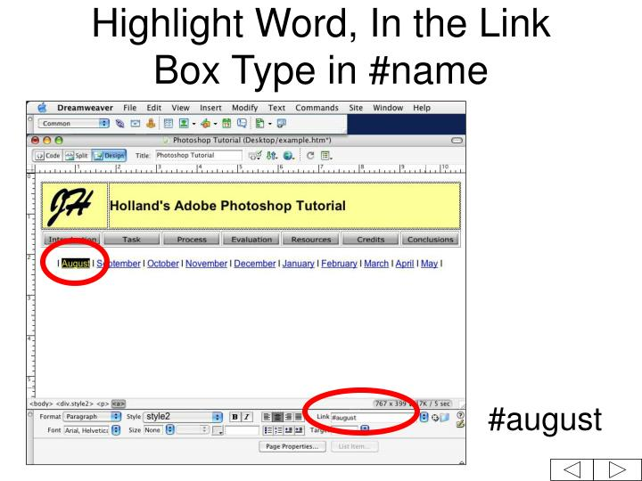 Highlight Word, In the Link Box Type in #name
