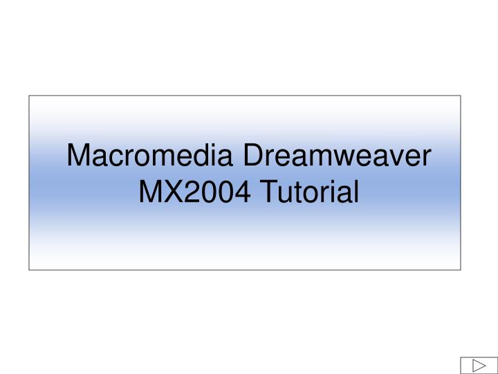 macromedia dreamweaver mx2004 tutorial n.