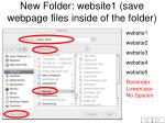 new folder website1 save webpage files inside of the folder