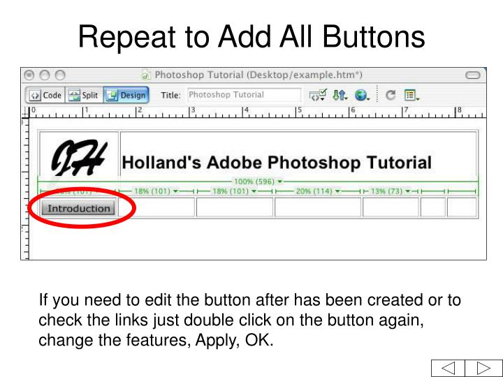 Repeat to Add All Buttons