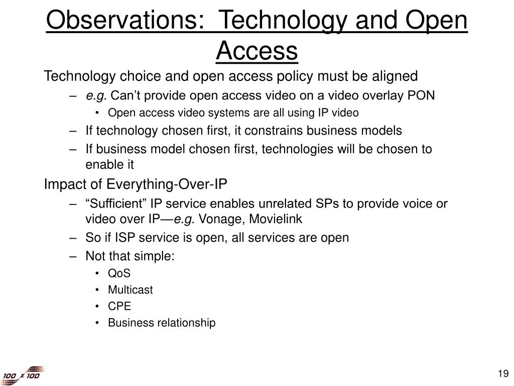 Observations:  Technology and Open Access