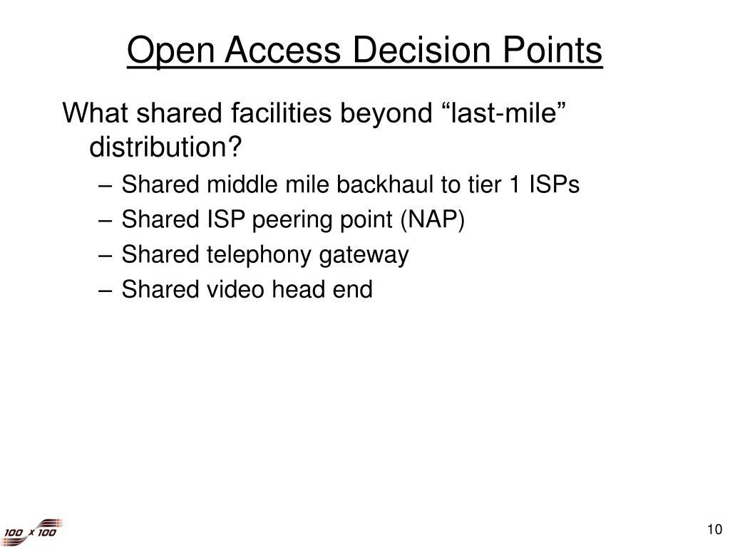 Open Access Decision Points