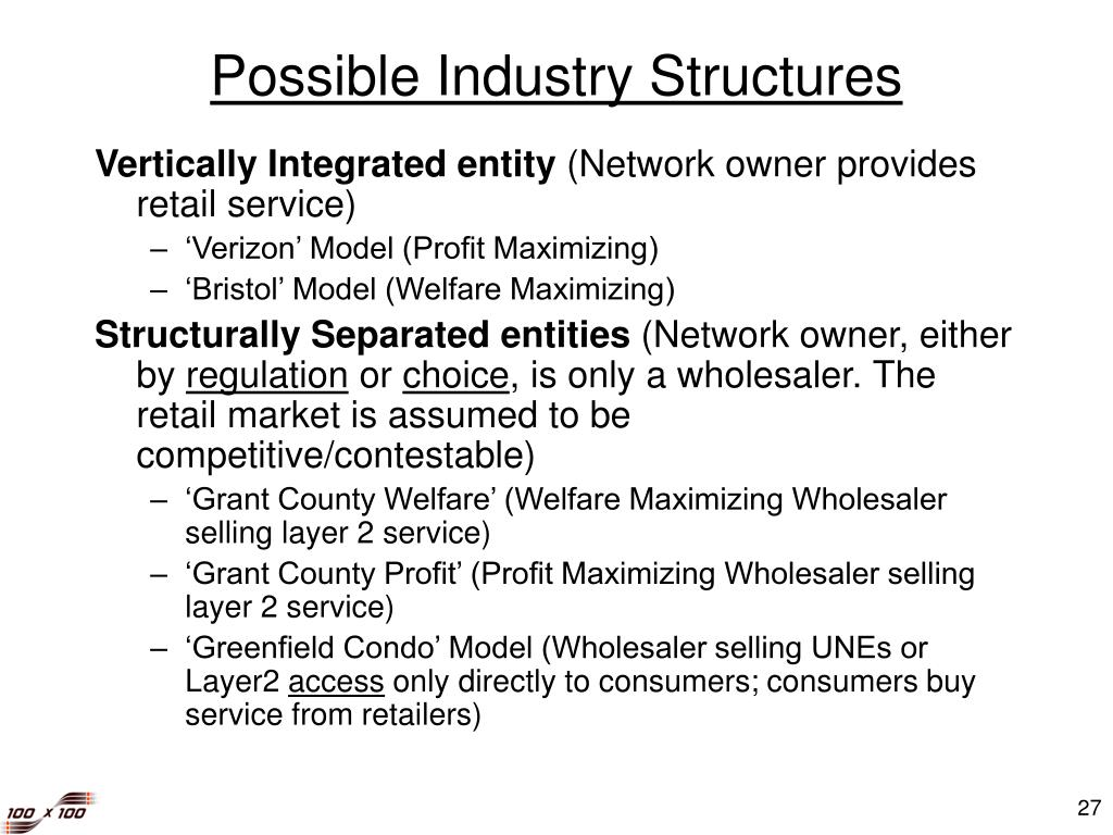 Possible Industry Structures