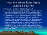 how and where does highly qualified staff fit