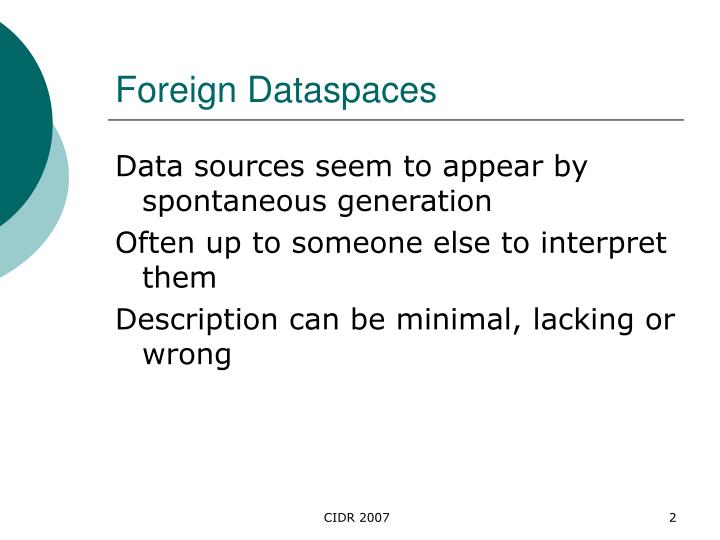 Foreign dataspaces