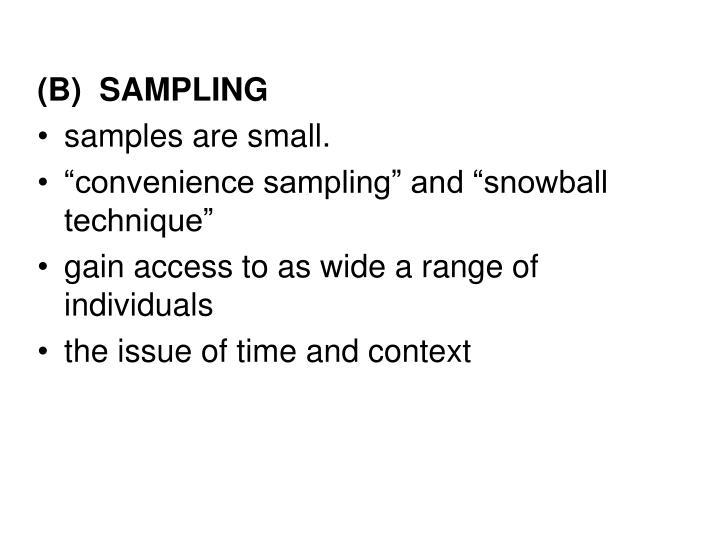 (B)  SAMPLING