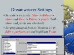 dreamweaver settings