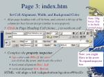 page 3 index htm set cell alignment width and background color