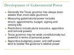 development of gubernatorial power