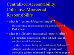 centralized accountability collective ministerial responsibility