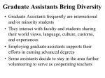 graduate assistants bring diversity