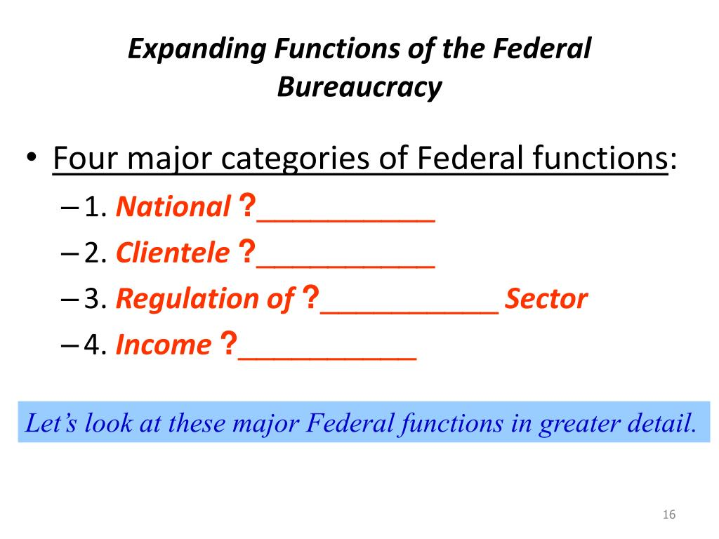 Expanding Functions of the Federal