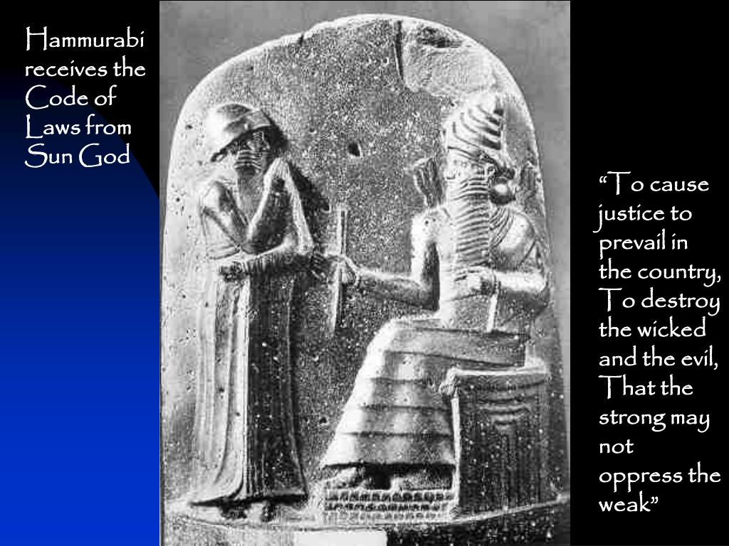 Hammurabi receives the Code of Laws from Sun God