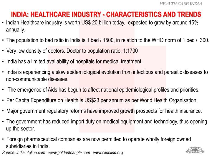 INDIA: HEALTHCARE INDUSTRY - CHARACTERISTICS AND TRENDS