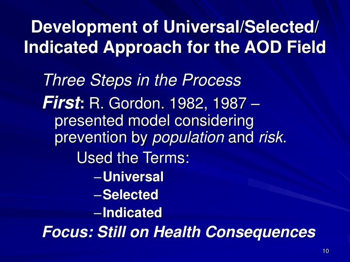 Development of Universal/Selected/ Indicated Approach for the AOD Field