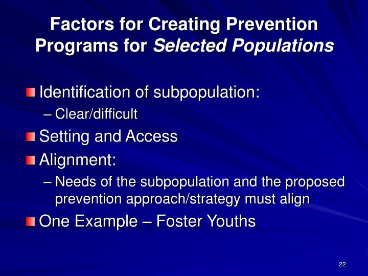Factors for Creating Prevention Programs for