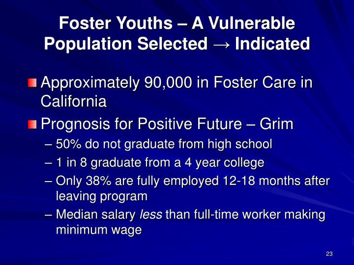 Foster Youths – A Vulnerable Population Selected