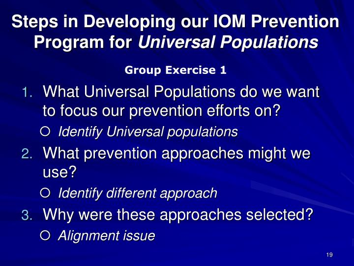 Steps in Developing our IOM Prevention Program for