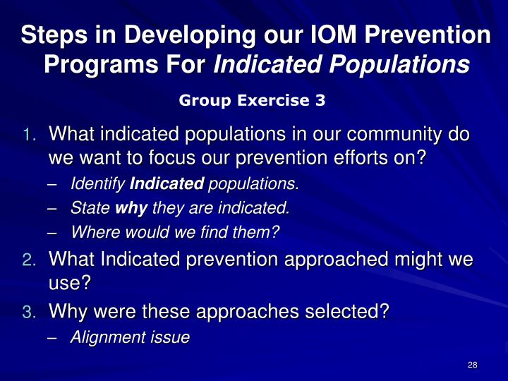 Steps in Developing our IOM Prevention Programs For