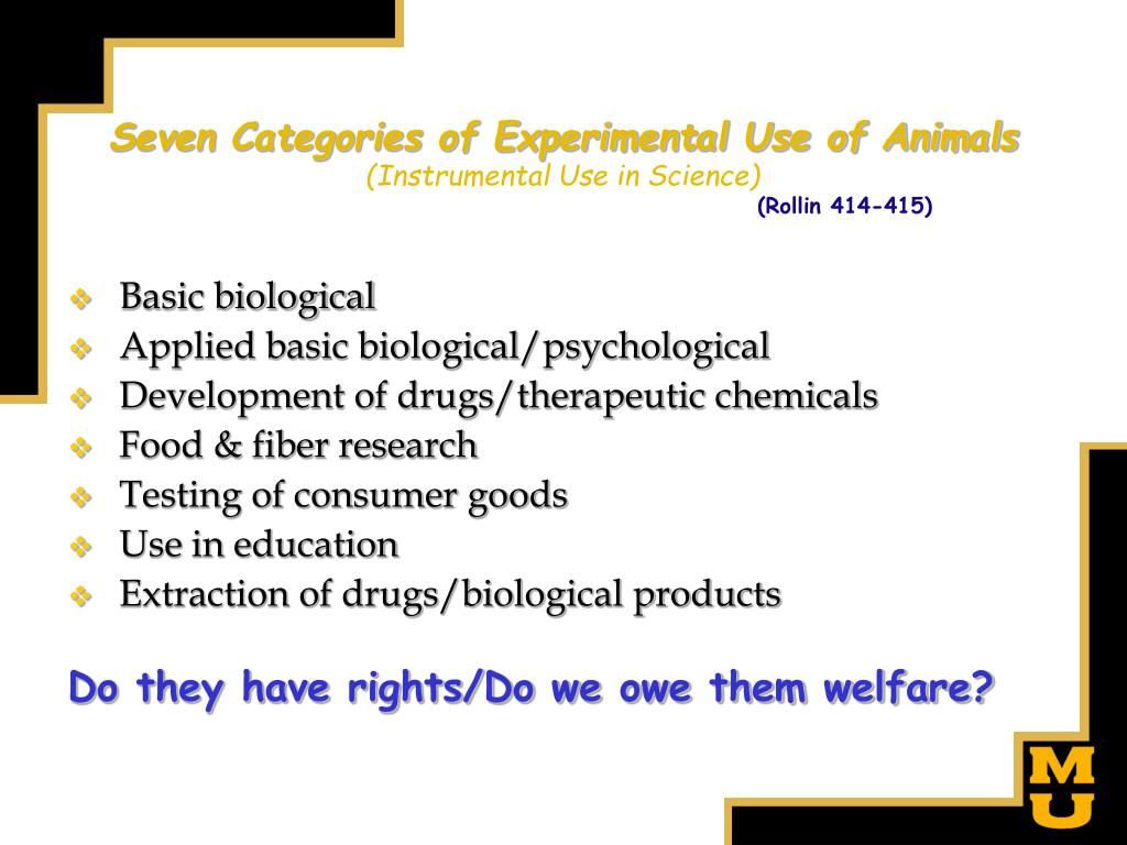 Seven Categories of Experimental Use of Animals