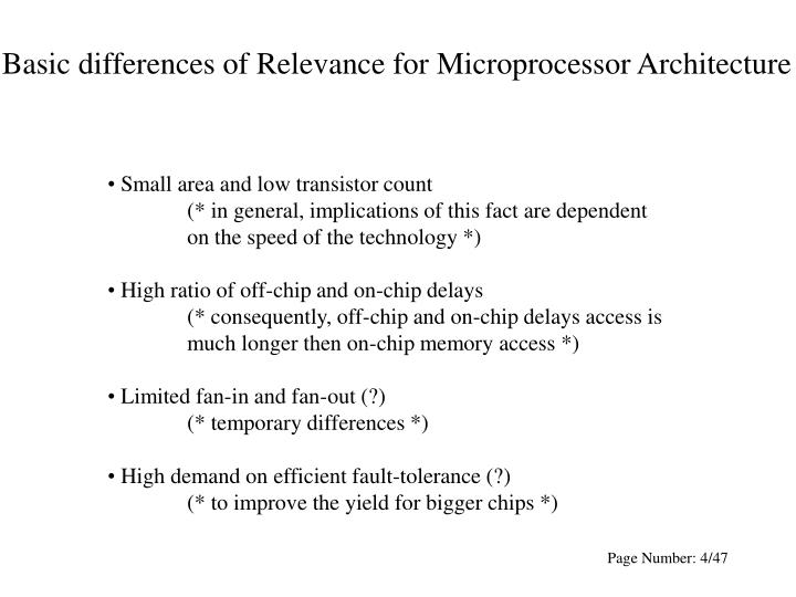 Basic differences of Relevance for Microprocessor Architecture