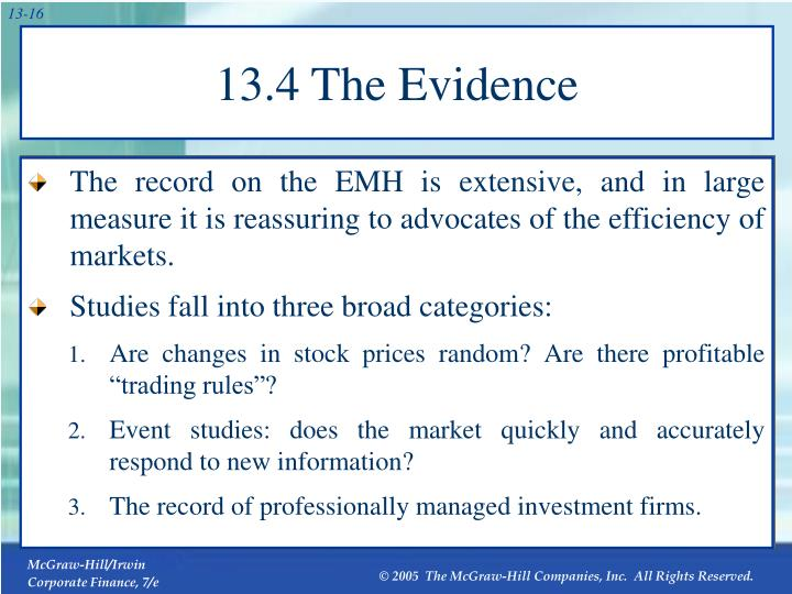 13.4 The Evidence