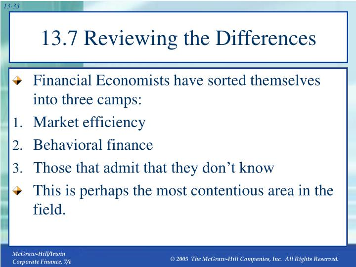 13.7 Reviewing the Differences