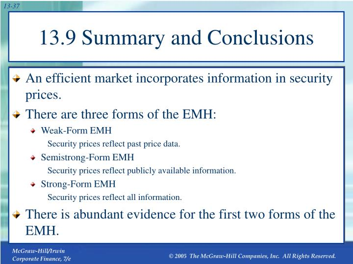 13.9 Summary and Conclusions