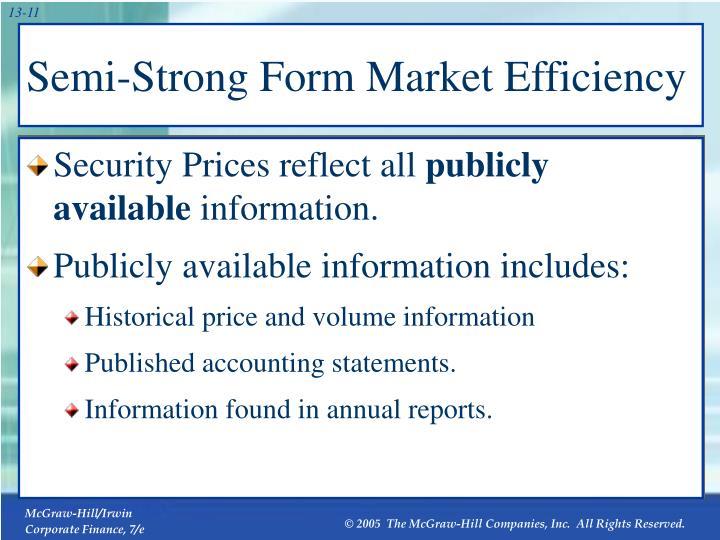 Semi-Strong Form Market Efficiency