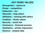 key work values
