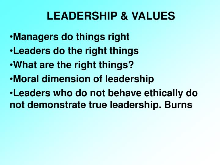 LEADERSHIP & VALUES