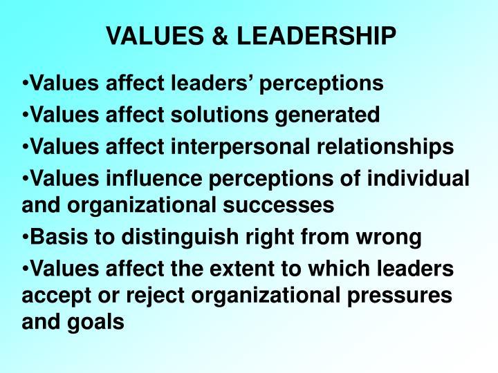 VALUES & LEADERSHIP