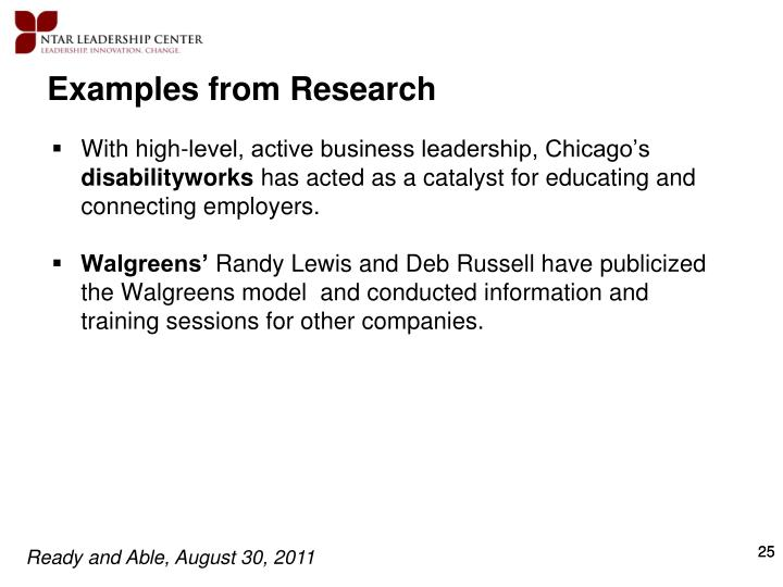 Examples from Research