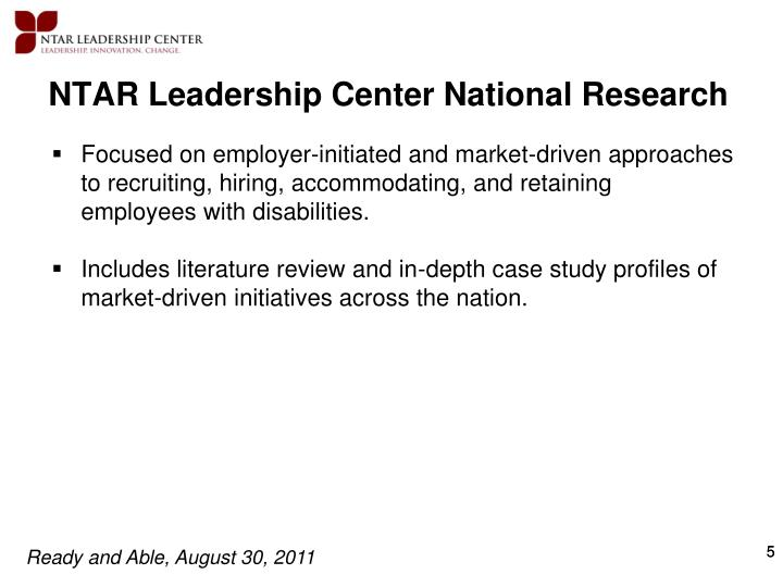 NTAR Leadership Center National Research