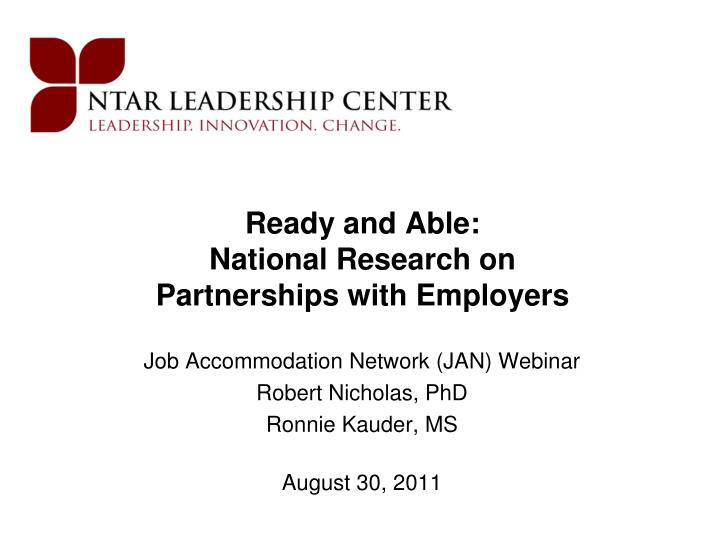 Ready and able national research on partnerships with employers